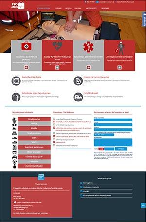 d5b53eca4a Strona prezentująca ofertę szkoleniową firmy prowadzącej kursy pierwszej  pomocy.